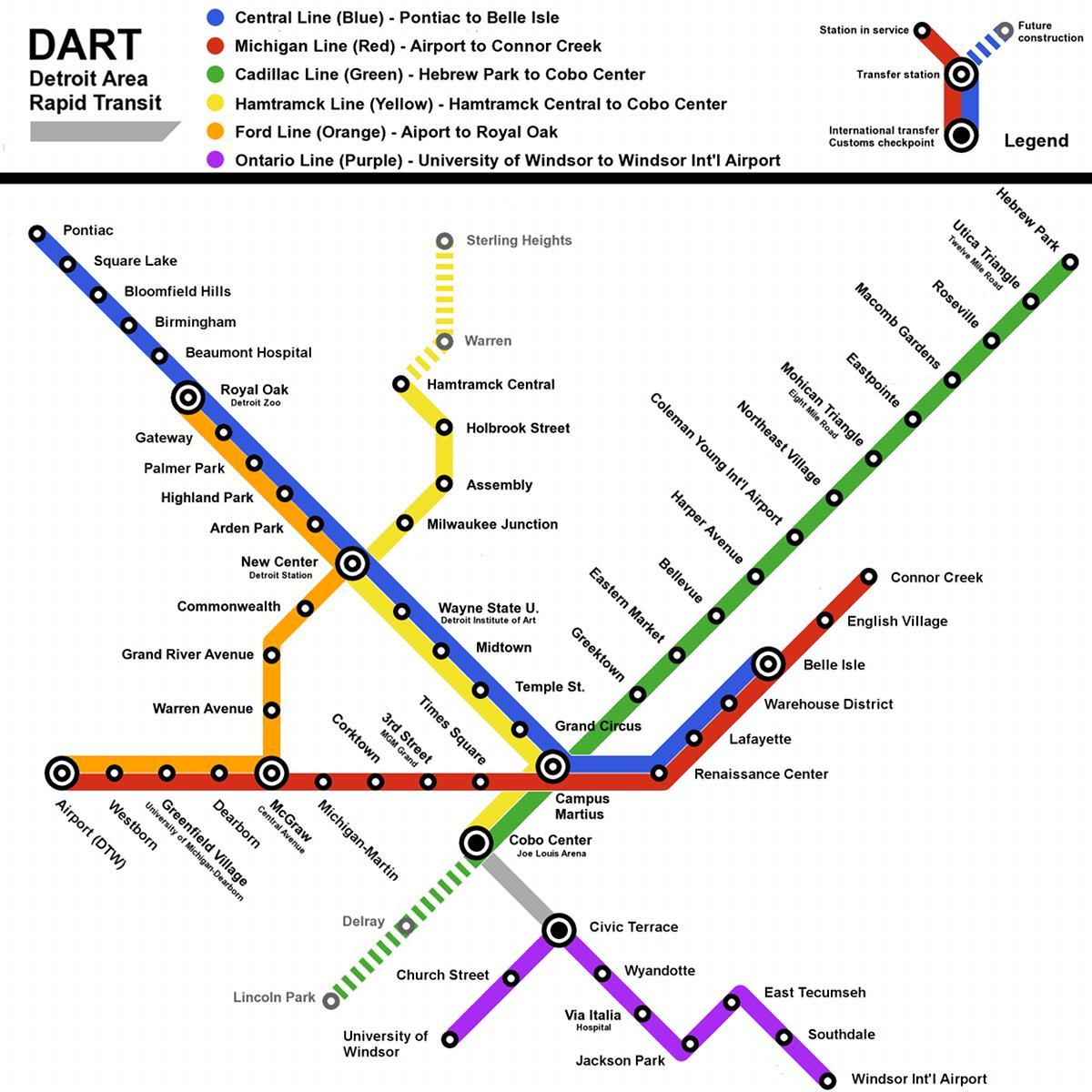 Detroit Light Rail Map Detroit Train Map Michigan USA - Railway map usa