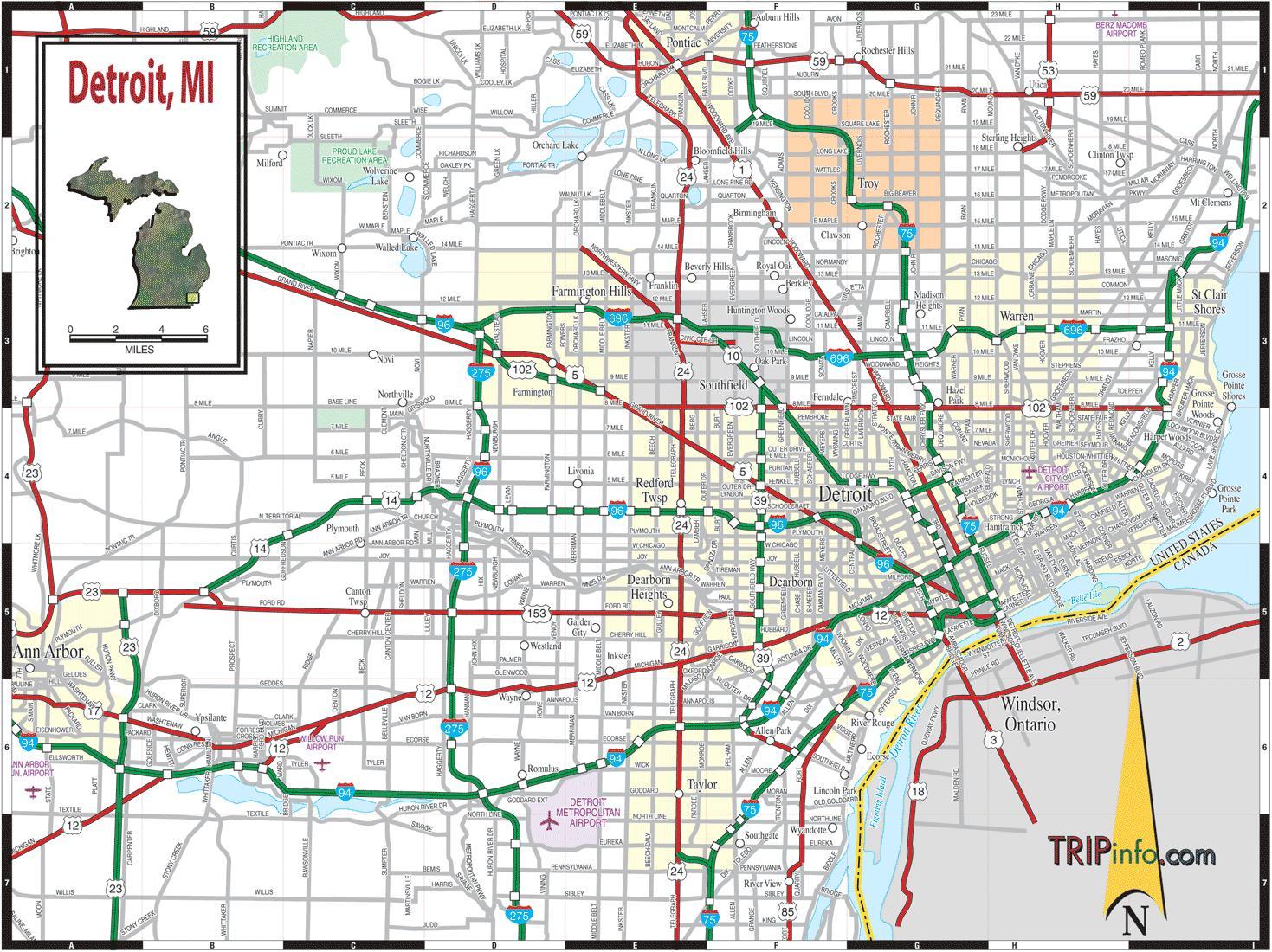 Detroit Mi Map Map Of Detroit Mi Michigan USA - Michigan map usa