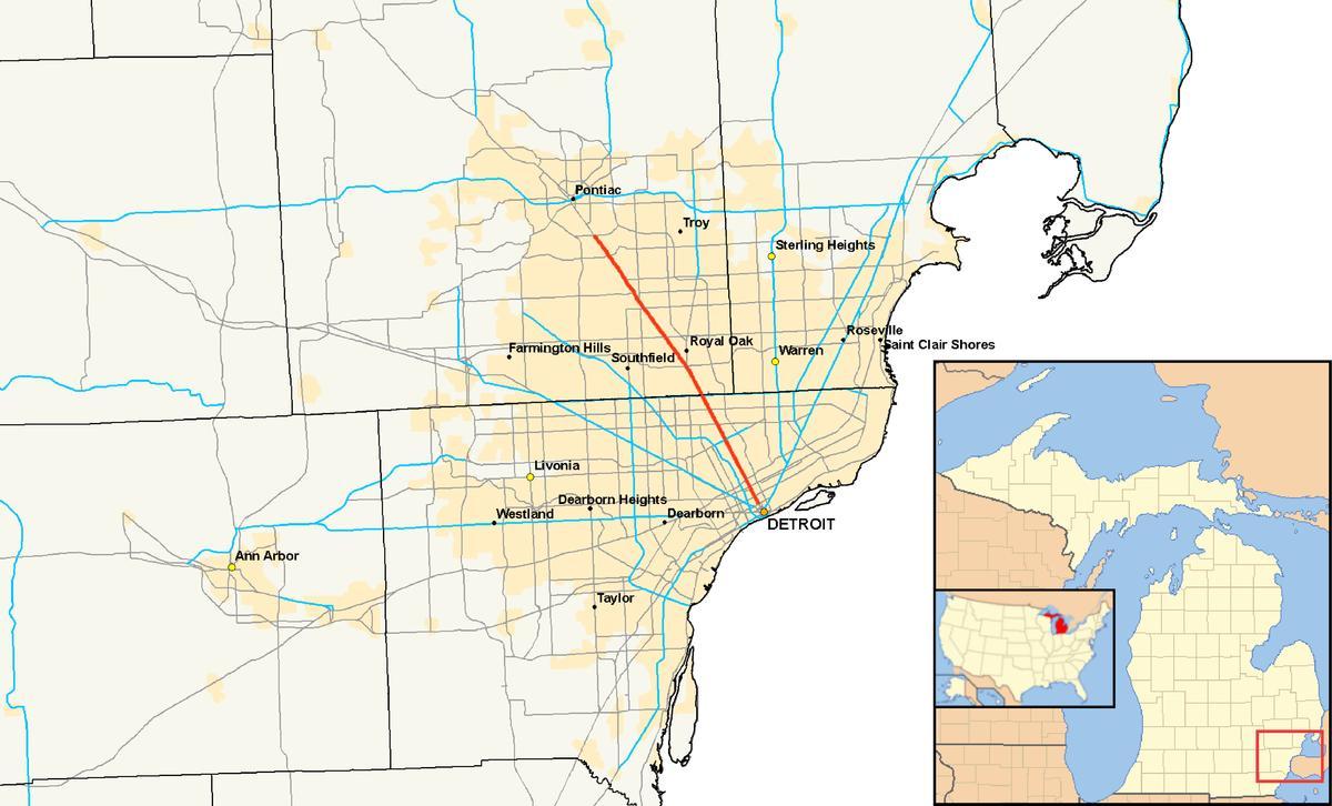 Detroit suburb map Detroit municipalities map Michigan USA