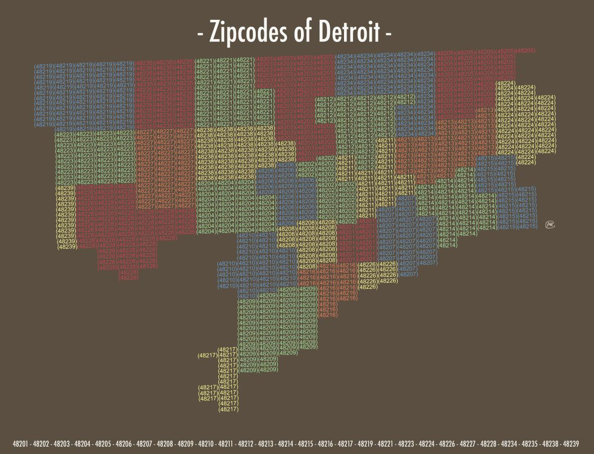Detroit zip code map - Zip code map Detroit (Michigan - USA) on