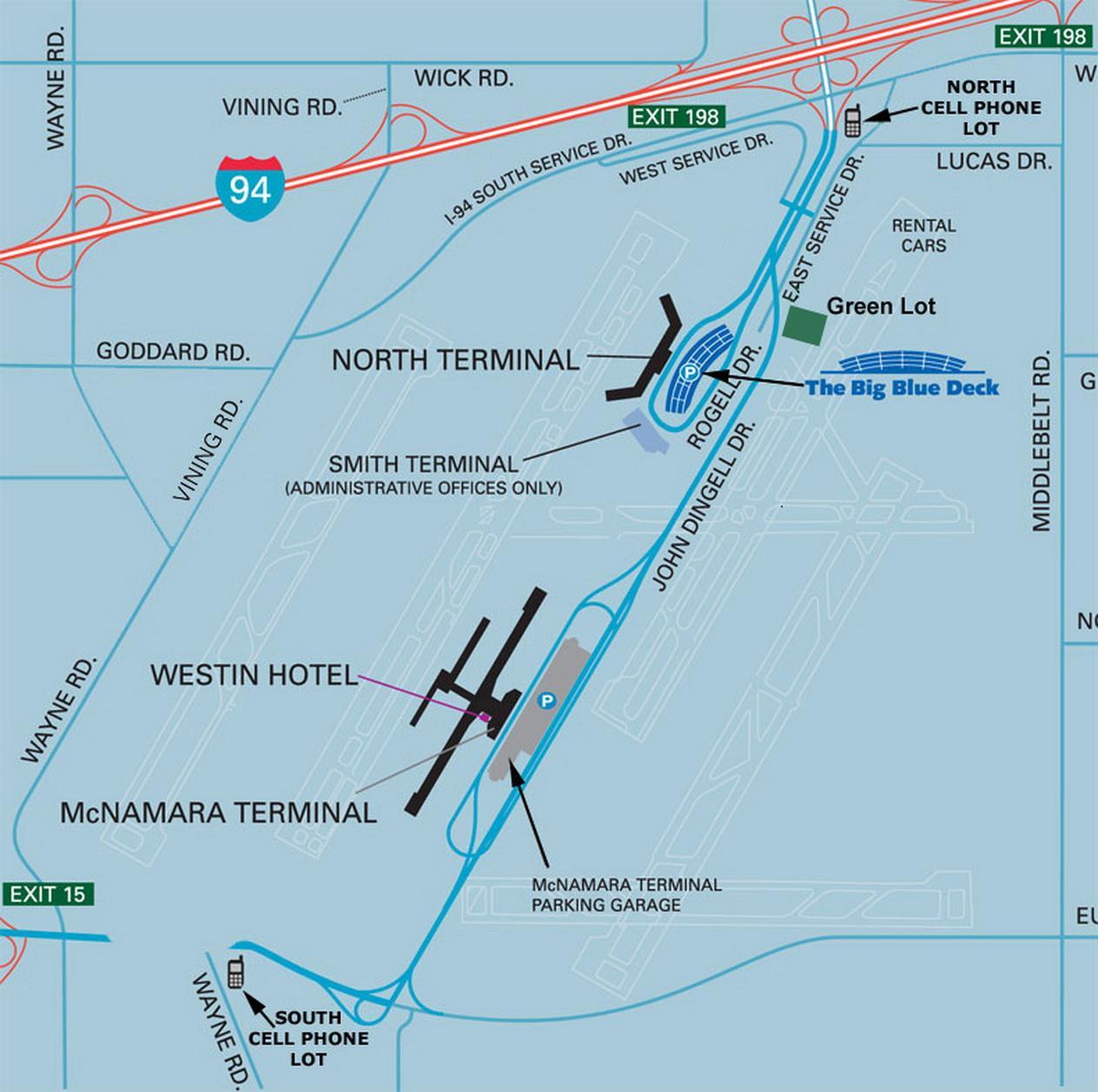 Dtw Terminal Map Dtw Parking Map Michigan Usa