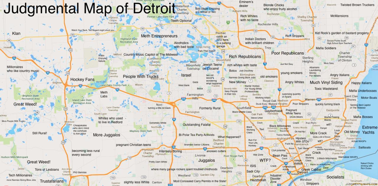 Judgemental map of Detroit - Judgemental map Detroit (Michigan - USA)